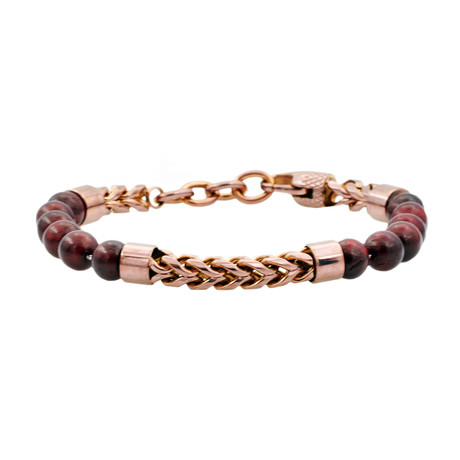 Franco Chain Bead Bracelet // Burgundy + Chocolate + Red Tiger's Eye