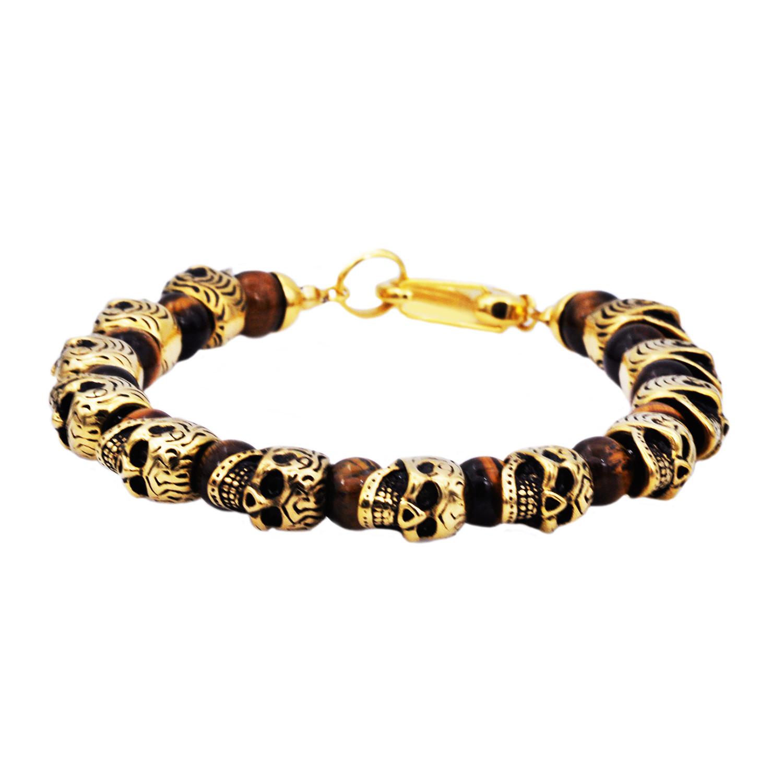 Skull Bracelet Gold Tiger Eye