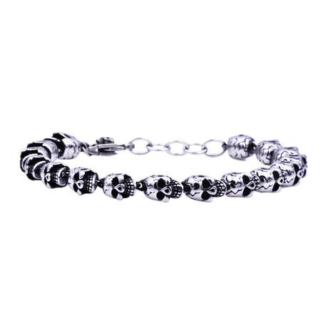 Steel Skull Bracelet // Stainless Steel