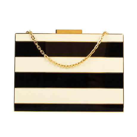 Valentino // Striped Enamel Box Minaudiere Bag // Black + Ivory