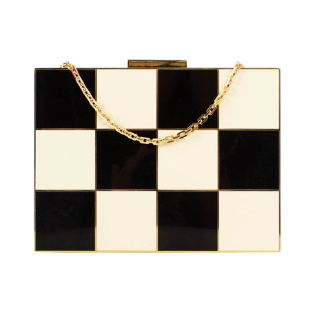 Valentino // Checkered Enamel Box Minaudiere Bag // Black + Ivory