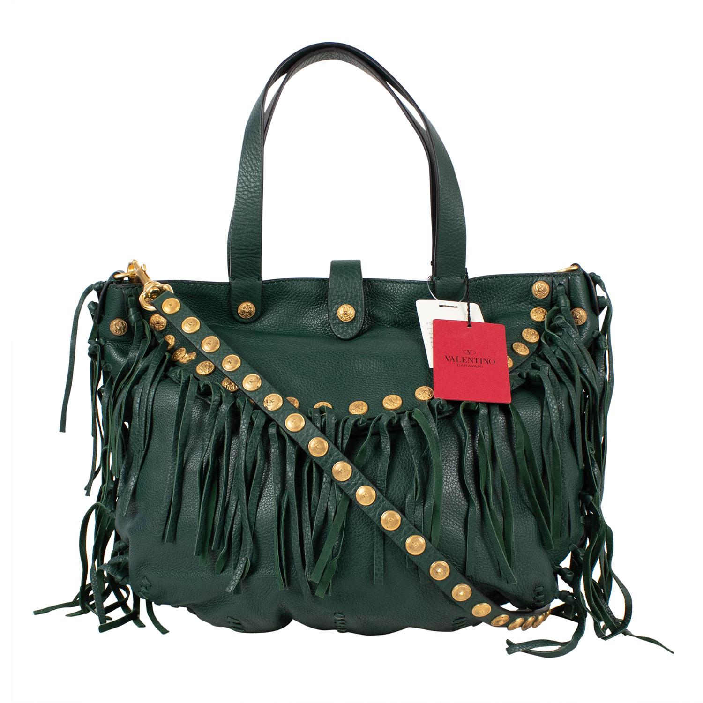 bef8b2267517 Valentino    Pebbled Leather C-Rockee Studded Fringe Hobo Bag    Green