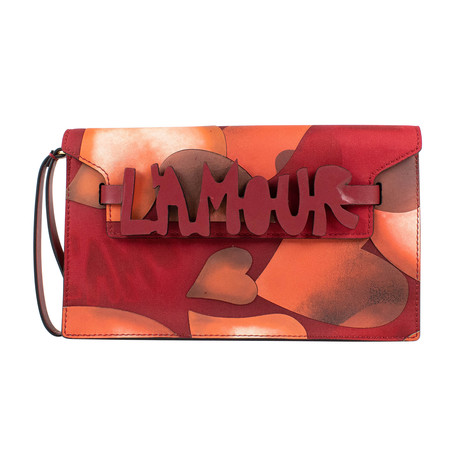 Canvas L'Amour Small Clutch Bag // Red