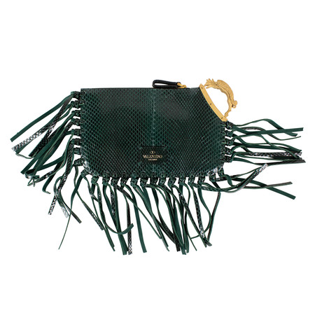 Valentino // Emerald Snakeskin Fringe Leather Small Clutch Bag // Green