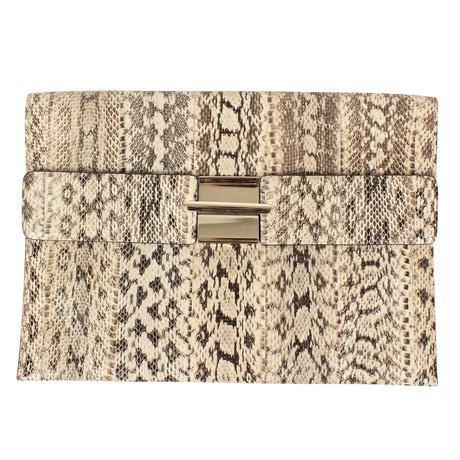 Valentino // Clasp Python Skin Clutch Bag // Ivory + Gold
