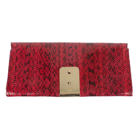 Valentino // Rockstud Python Skin Clutch Bag // Red + Gold