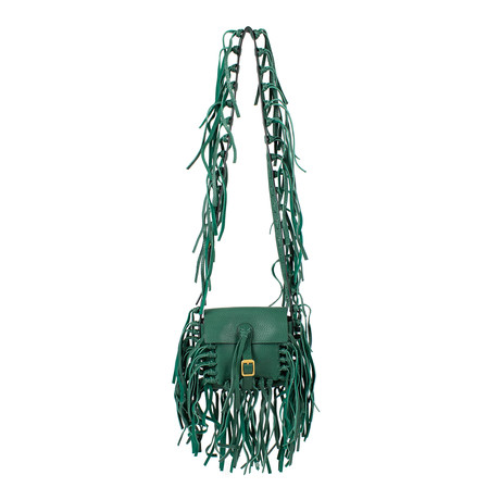Fringe Leather Cross Body Bag // Green