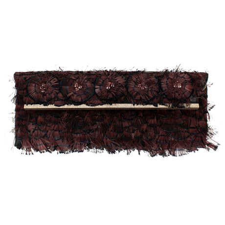 Valentino // Feather + Diamonds Satin Clutch Bag // Black