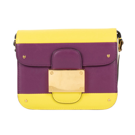 Valentino // Rivet Color-Block Leather Shoulder Bag // Purple + Yellow
