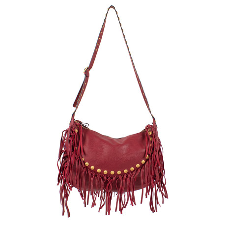 Valentino // Leather C-Rockee Studded Fringe Hobo Cross Body Bag // Red