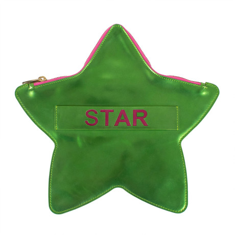 Star Patent Leather Star Clutch Bag // Green