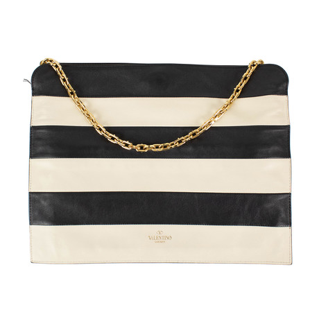 Striped Leather + Chain Clutch Bag // Black + Ivory