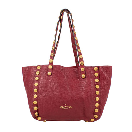 Leather C-Rockee Studded Hobo Tote Bag // Red