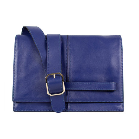 Valentino // Leather Messenger Cross Body Bag // Blue