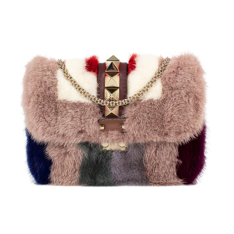Valentino // Leather 'Glam Lock' Mink Fur Shoulder Bag // Multi-Color