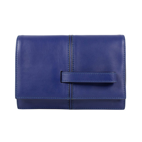 Leather + Handle Clutch Bag // Blue
