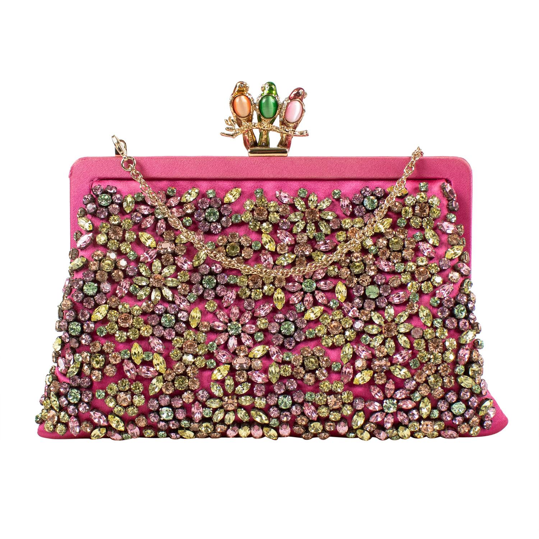 Valentino    Satin + Stone Flower Design Clutch Bag    Pink ...