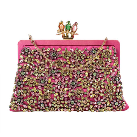 Valentino // Satin + Stone Flower Design Clutch Bag // Pink