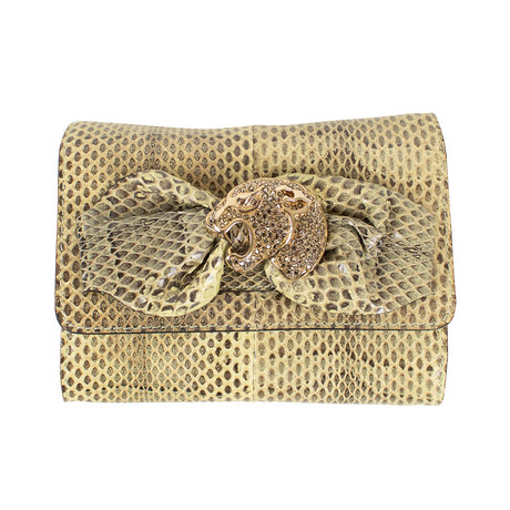 Valentino // Diamond Studded Jaguar Python Skin Cross Body Bag // Ivory