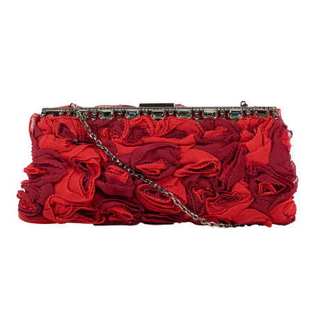 Flowers + Diamonds Silk Clutch Bag // Red