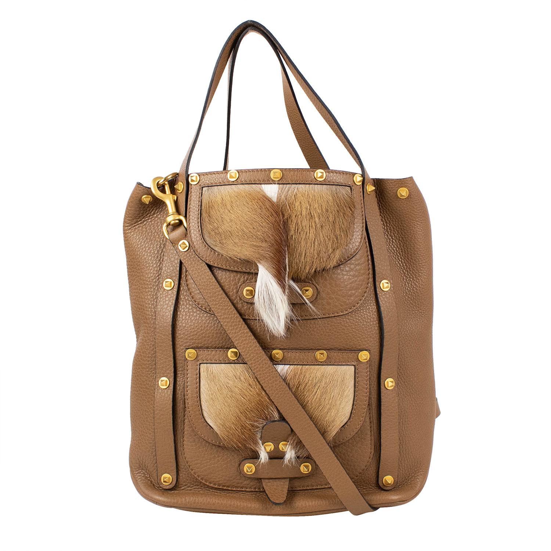 05e7df4dd0 Fur Pocket Rockstud Double Handle Leather Tote Bag    Brown ...