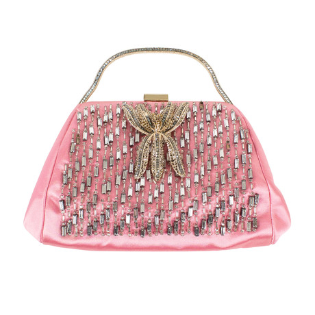 Valentino // Diamonds + Silk Clutch Bag // Pink