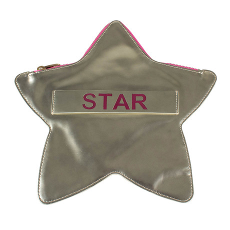 Star Patent Leather Star Clutch Bag // Gold