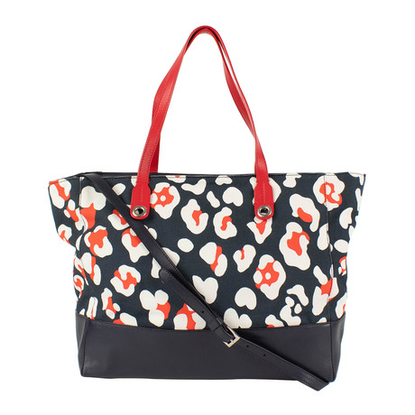 Canvas + Leather Floral Strap Tote Bag // Navy Blue + Red
