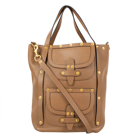 Valentino // Double Pocket Rockstud Double Handle Leather Tote Bag // Brown