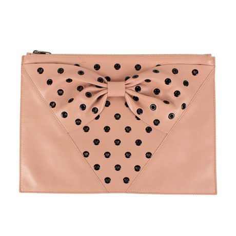Leather Bow Polka Dot Clutch Bag // Pink