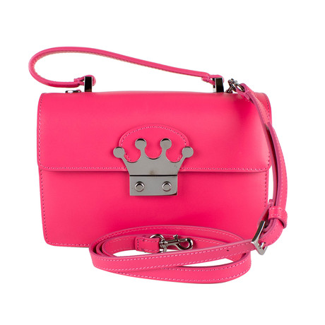 Leather 'Glam Lock' Crown Closure Hand Bag // Pink