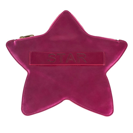 Valentino // Star Patent Leather Star Clutch Bag // Pink