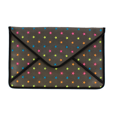 Valentino // Envelope Opaque Mesh Star Clutch Bag // Multi-Color