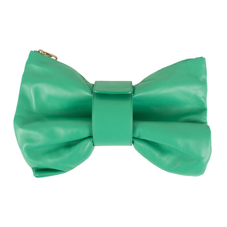 Bow Leather Clutch Bag // Green