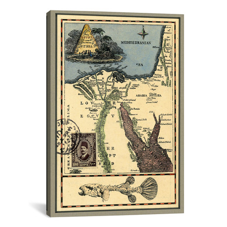 "Egypt Map // Nick Bantock (12""W x 18""H x 0.75""D)"