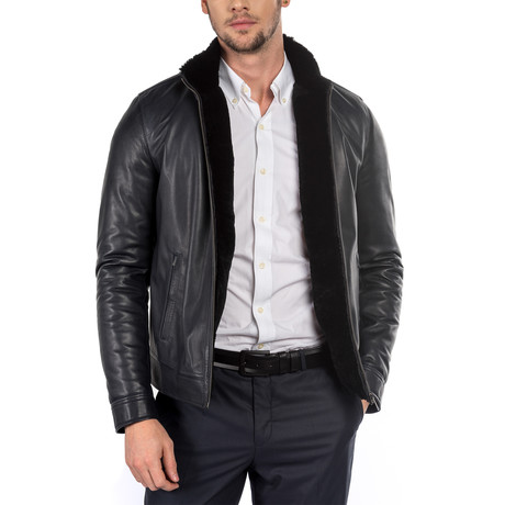 Regular Fit Leather Jacket // Navy (M)