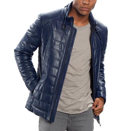 Jospeh Leather Jacket Slim // Blue (M)
