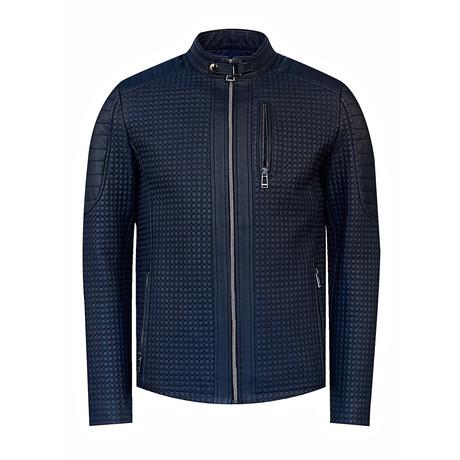 Slim-Fit Leather Jacket // Navy (2XL)