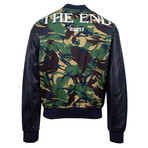 Off White // Men's Cotton + Leather Bomber Jacket // Green (M)