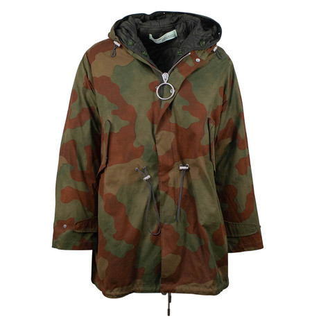 Off White // Men's Fishtail Parka Camo Hooded Parka Jacket // Green (XS)