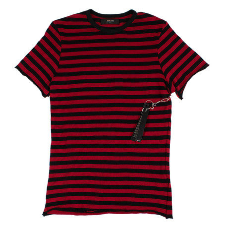 Amiri // Striped Cotton Blend T-Shirt // Red + Black (XS)