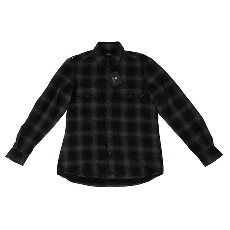 Marcelo Burlon // Plaid Button Down Sham Shirt // Black + Gray (XS)