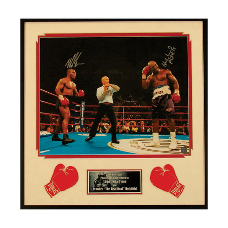 Signed + Framed Photograph // Mike Tyson + Evander Holyfield