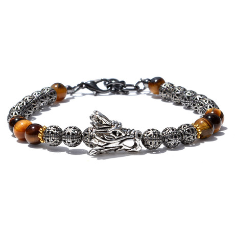 Adjustable Metal Dragon Bracelet // Silver + Brown