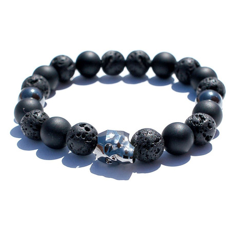"""Swarovski Skull Bracelet // Silver + Black (7.75"""")"""