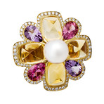 Vintage Chanel 18k Yellow Gold Multi-Stone Ring // Ring Size: 6.5