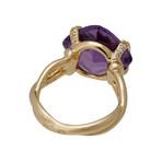 Vintage Chanel 18k Yellow Gold Diamond + Amethyst Ring // Ring Size: 6.5