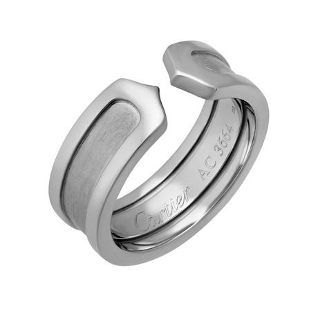 Vintage Cartier 18k White Gold C Ring // Ring Size: 4.75