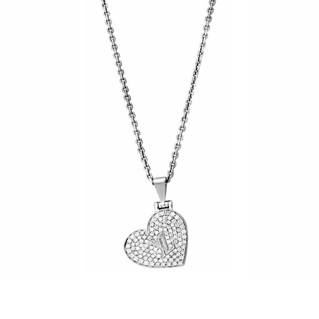 Vintage Louis Vuitton 18k White Gold Diamond Heart Locket Pendant