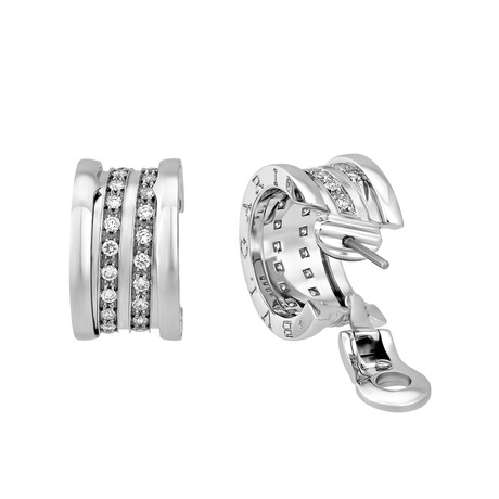Vintage Bvlgari 18k White Gold B. Zero Diamond Earrings d6d6fa5abf32a